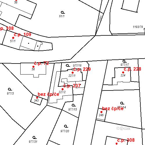Katastrální mapa Stavební objekt Bělčice 229, Bělčice