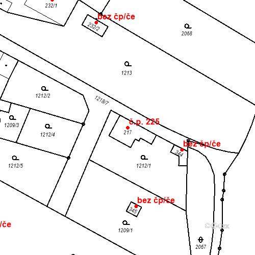 Katastrální mapa Stavební objekt Bělčice 225, Bělčice