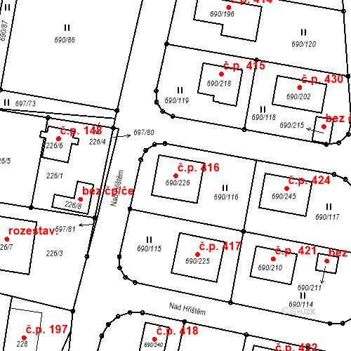 Katastrální mapa Stavební objekt Horní Planá 416, Horní Planá