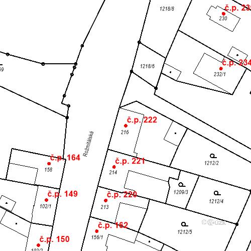 Katastrální mapa Stavební objekt Bělčice 222, Bělčice