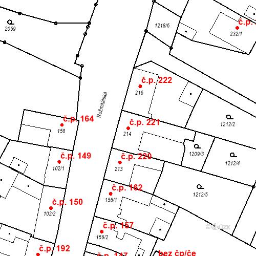 Katastrální mapa Stavební objekt Bělčice 221, Bělčice