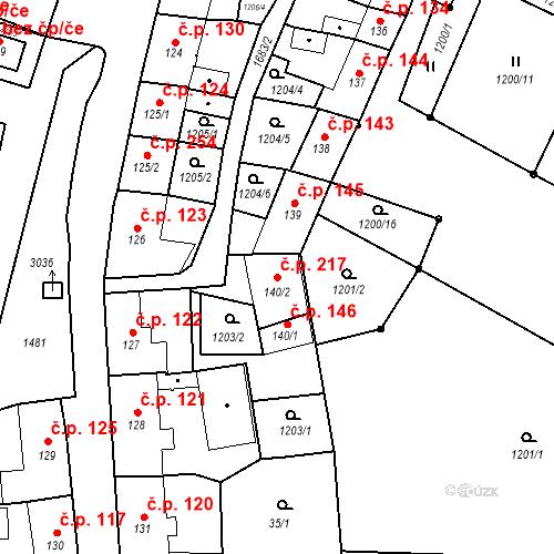 Katastrální mapa Stavební objekt Bělčice 217, Bělčice
