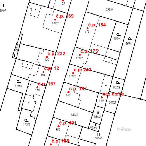 Katastrální mapa Stavební objekt Bělčice 243, Bělčice