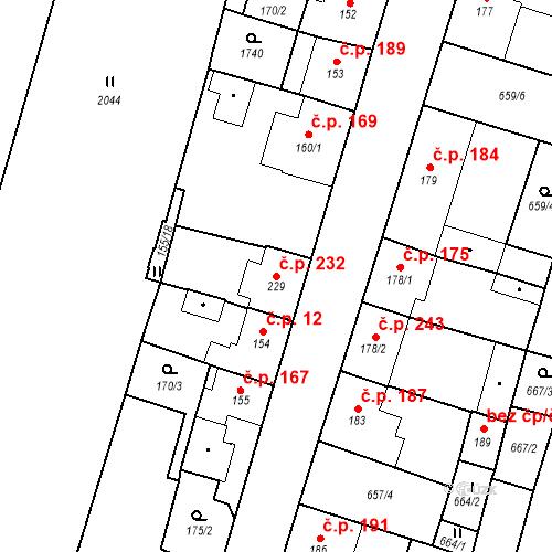 Katastrální mapa Stavební objekt Bělčice 232, Bělčice
