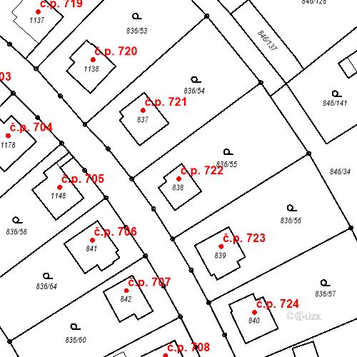 Katastrální mapa Stavební objekt Blatná 722, Blatná