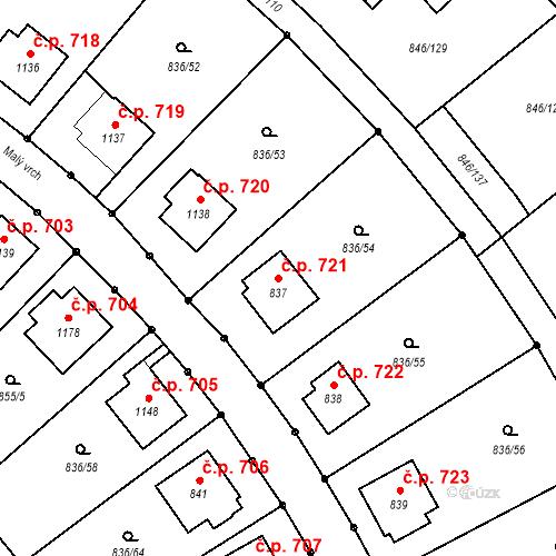 Katastrální mapa Stavební objekt Blatná 721, Blatná