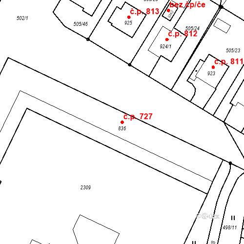 Katastrální mapa Stavební objekt Blatná 727, Blatná