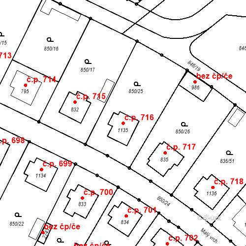 Katastrální mapa Stavební objekt Blatná 716, Blatná