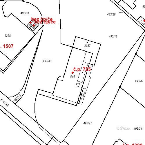 Katastrální mapa Stavební objekt Blatná 725, Blatná