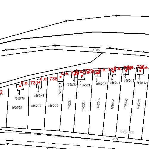 Katastrální mapa Stavební objekt Postoloprty 729, Postoloprty