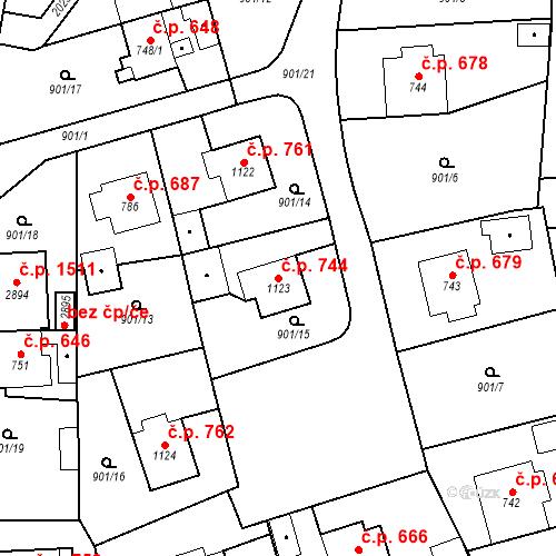 Katastrální mapa Stavební objekt Blatná 744, Blatná