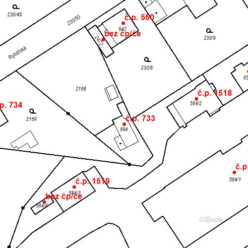 Katastrální mapa Stavební objekt Blatná 733, Blatná