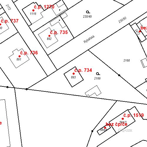 Katastrální mapa Stavební objekt Blatná 734, Blatná