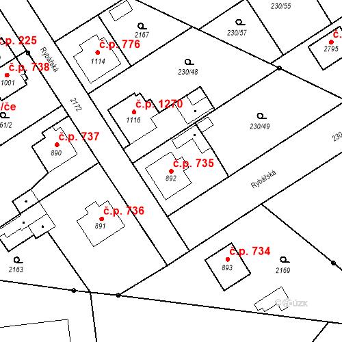 Katastrální mapa Stavební objekt Blatná 735, Blatná