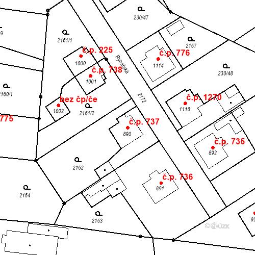 Katastrální mapa Stavební objekt Blatná 737, Blatná