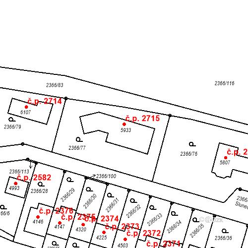 Katastrální mapa Stavební objekt Rakovník II 2715, Rakovník