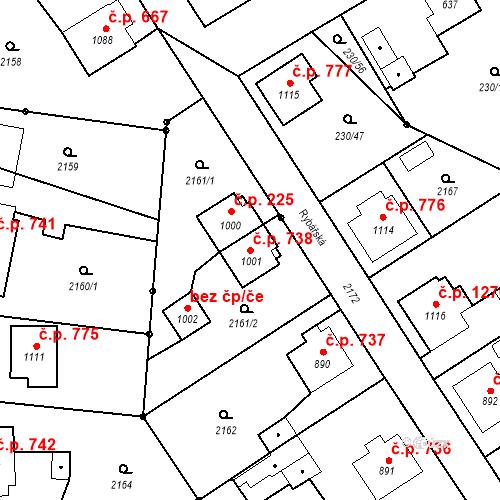 Katastrální mapa Stavební objekt Blatná 738, Blatná