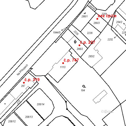Katastrální mapa Stavební objekt Blatná 747, Blatná