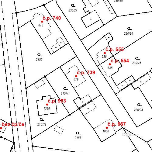 Katastrální mapa Stavební objekt Blatná 739, Blatná