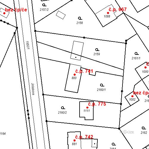 Katastrální mapa Stavební objekt Blatná 741, Blatná