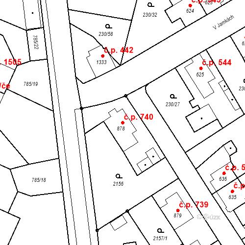 Katastrální mapa Stavební objekt Blatná 740, Blatná