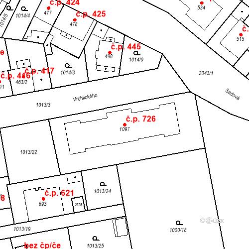 Katastrální mapa Stavební objekt Blatná 726, Blatná