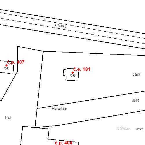 Katastrální mapa Stavební objekt Zbiroh 181, Zbiroh