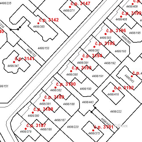Katastrální mapa Stavební objekt Most 3193, Most