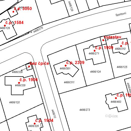 Katastrální mapa Stavební objekt Most 2309, Most