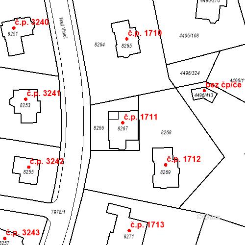 Katastrální mapa Stavební objekt Most 1711, Most