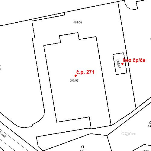 Katastrální mapa Stavební objekt Chudeřín 271, Litvínov