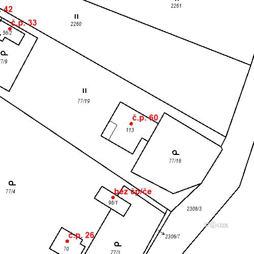 Katastrální mapa Stavební objekt Třebohostice 60, Třebohostice