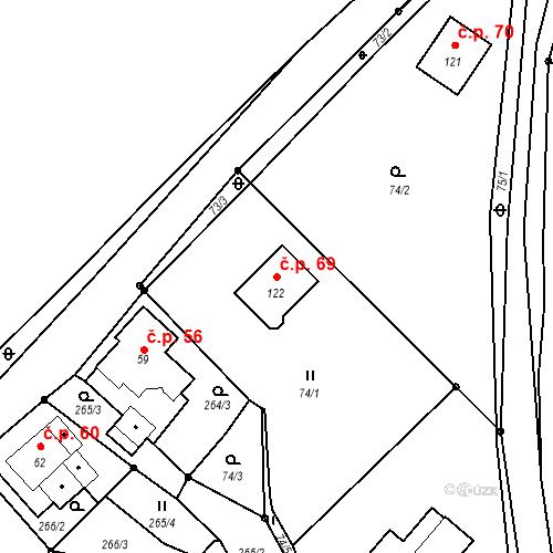Katastrální mapa Stavební objekt Strunkovice nad Volyňkou 69, Strunkovice nad Volyňkou