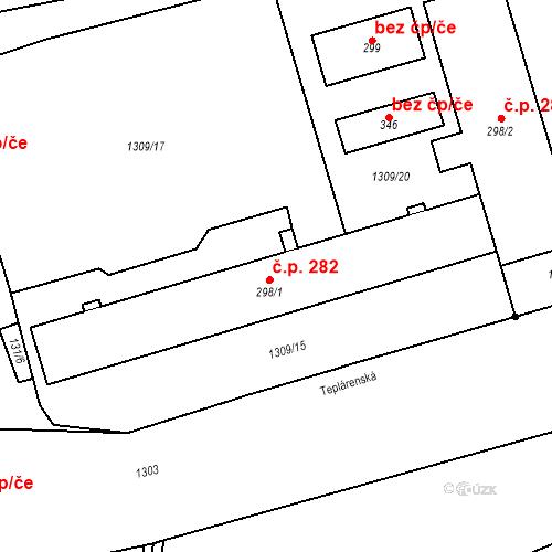 Katastrální mapa Stavební objekt Komořany 282, Most