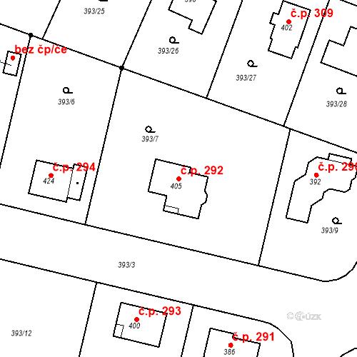 Katastrální mapa Stavební objekt Senomaty 292, Senomaty