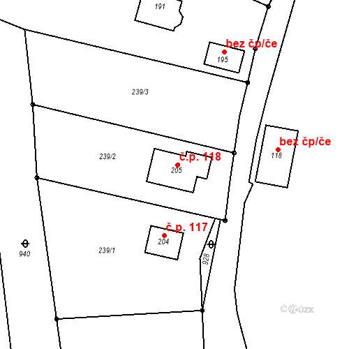 Katastrální mapa Stavební objekt Šumavské Hoštice 118, Šumavské Hoštice