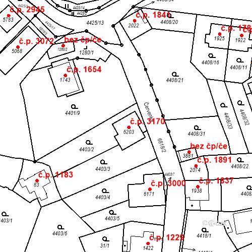 Katastrální mapa Stavební objekt Žatec 3170, Žatec