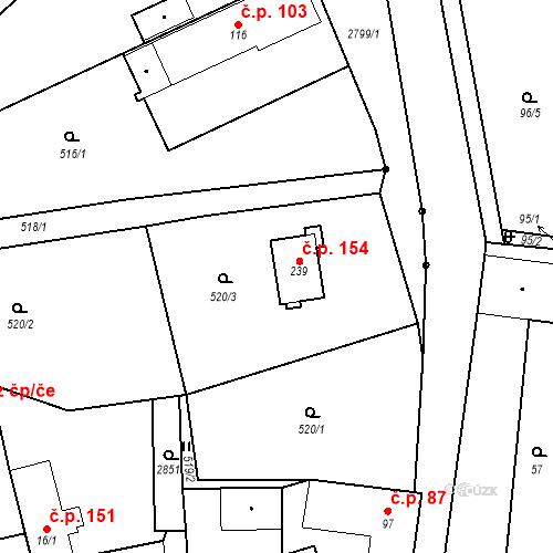Katastrální mapa Stavební objekt Svéradice 154, Svéradice