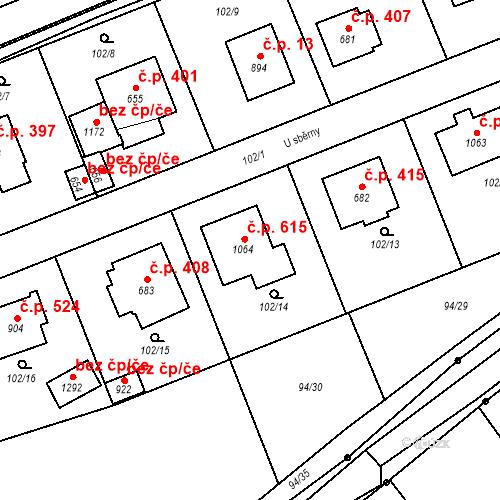 Katastrální mapa Stavební objekt Mirošov 615, Mirošov