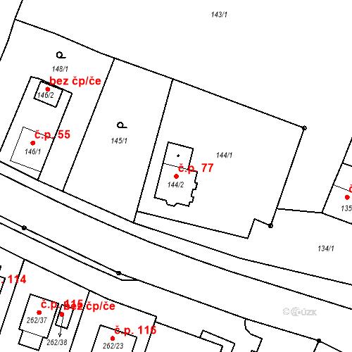 Katastrální mapa Stavební objekt Pesvice 77, Pesvice
