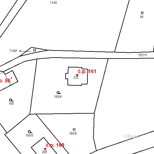 Katastrální mapa Stavební objekt Příkosice 161, Příkosice