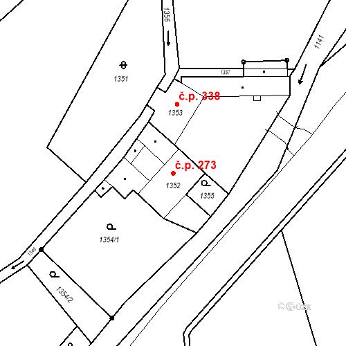 Katastrální mapa Stavební objekt Jirkov 273, Jirkov
