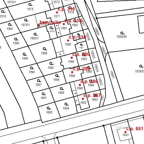 Katastrální mapa Stavební objekt Jirkov 289, Jirkov