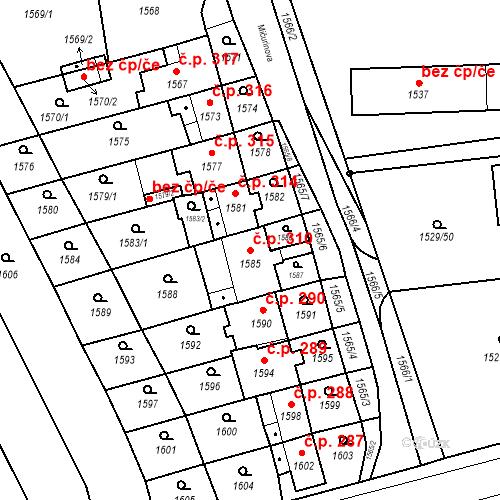 Katastrální mapa Stavební objekt Jirkov 310, Jirkov