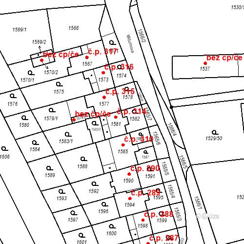Katastrální mapa Stavební objekt Jirkov 314, Jirkov