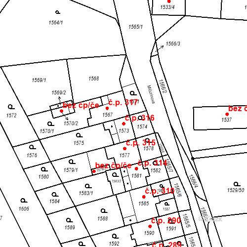 Katastrální mapa Stavební objekt Jirkov 316, Jirkov