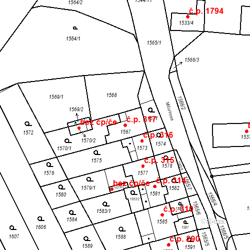 Katastrální mapa Stavební objekt Jirkov 317, Jirkov