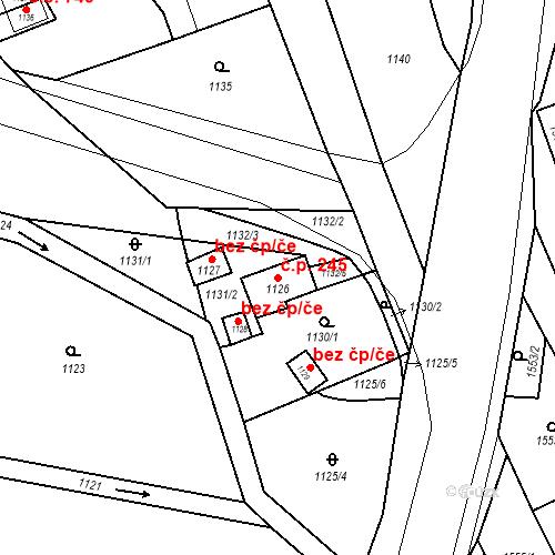 Katastrální mapa Stavební objekt Jirkov 245, Jirkov