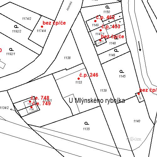 Katastrální mapa Stavební objekt Jirkov 246, Jirkov