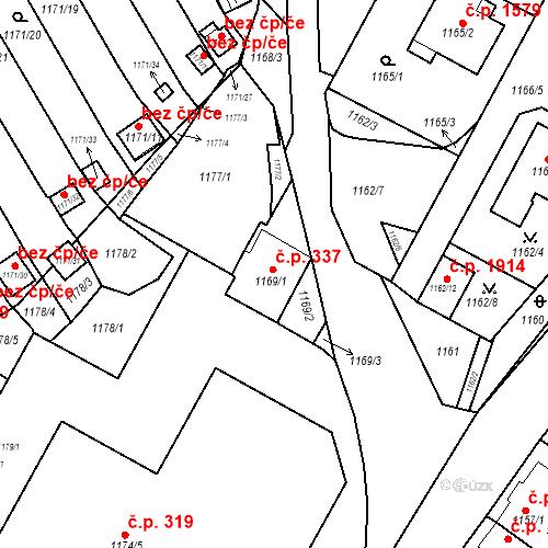 Katastrální mapa Stavební objekt Jirkov 337, Jirkov